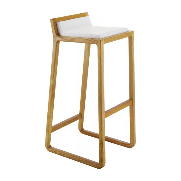solid oak and leather bar stool n°1