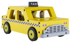 wooden toy taxi