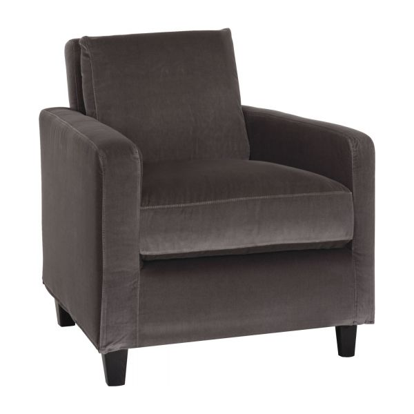 chester fauteuils fauteuil gris souris velours habitat. Black Bedroom Furniture Sets. Home Design Ideas