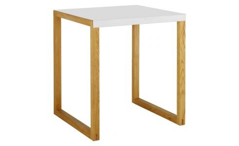 solid oak and metal dining room table