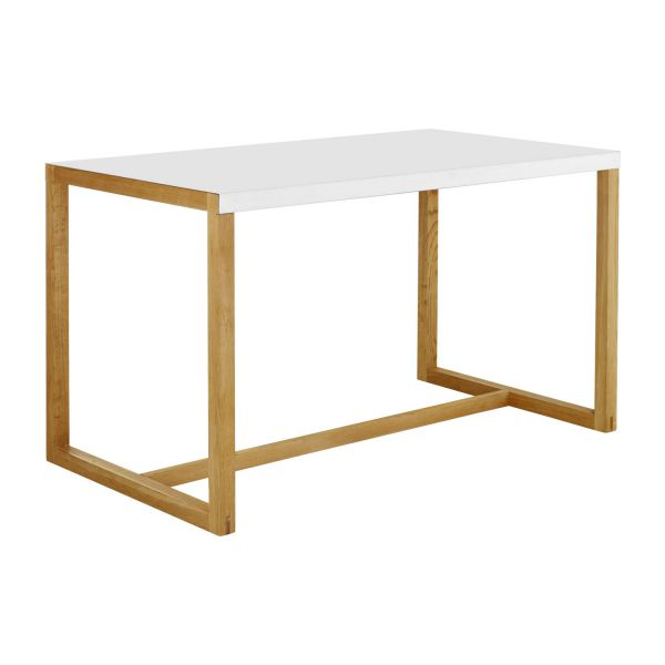 Kilo tables de salle manger blanc bois m tal habitat for Table cuisine en pin
