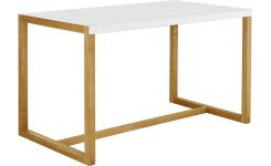 rectangular table made of metal and solid oak