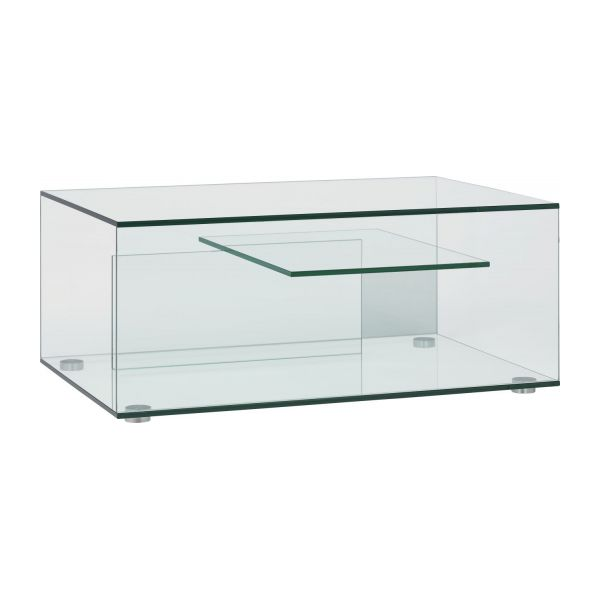 Gem tables basses transparent verre m tal habitat for Table de television en verre