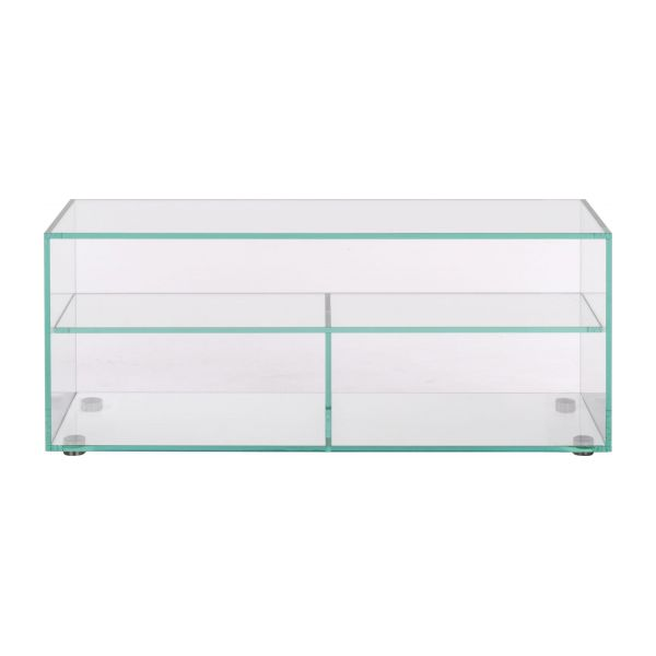Gem meubles audio vid o transparent verre m tal habitat - Meuble en verre trempe ...