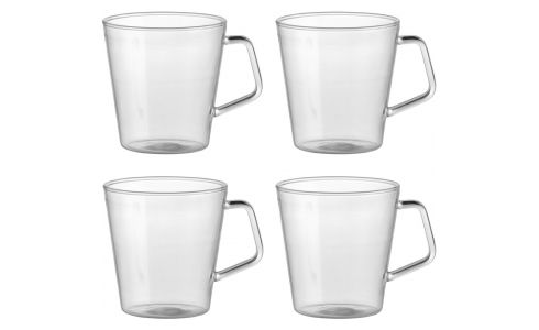 Set de 4 mugs en verre trempé