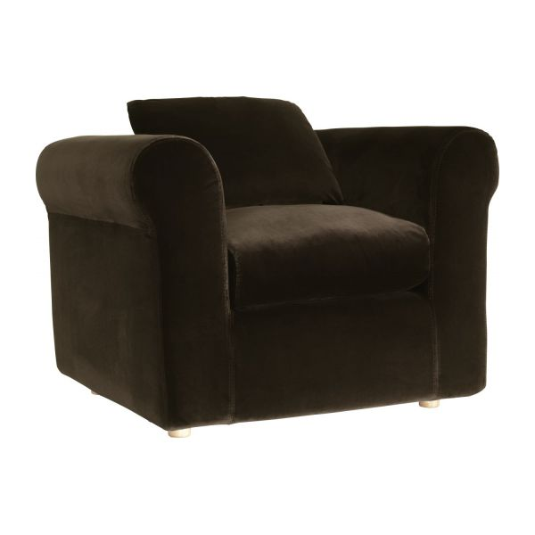 louis fauteuils fauteuil brun velours habitat. Black Bedroom Furniture Sets. Home Design Ideas
