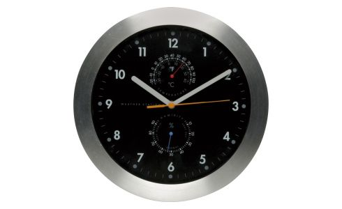 Reloj de pared con termómetro integrado