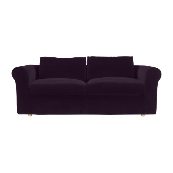 louis canap s canap 3 places aubergine velours habitat. Black Bedroom Furniture Sets. Home Design Ideas