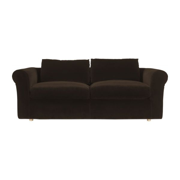 Louis canap s canap 3 places convertible brun velours habitat - Canape 2 places habitat ...