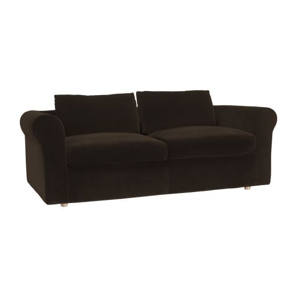 louis canap s canap 3 places convertible brun velours habitat. Black Bedroom Furniture Sets. Home Design Ideas