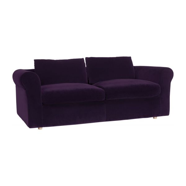 Louis canap s canap 3 places convertible aubergine for Canape lit habitat