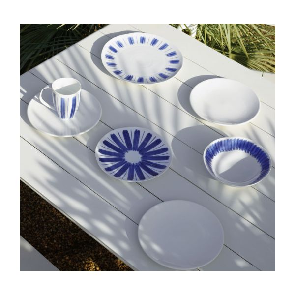 Dessert plate made of porcelain, white and blue n°6