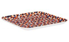 Square tray made of melamine 25x25cm, with patterns