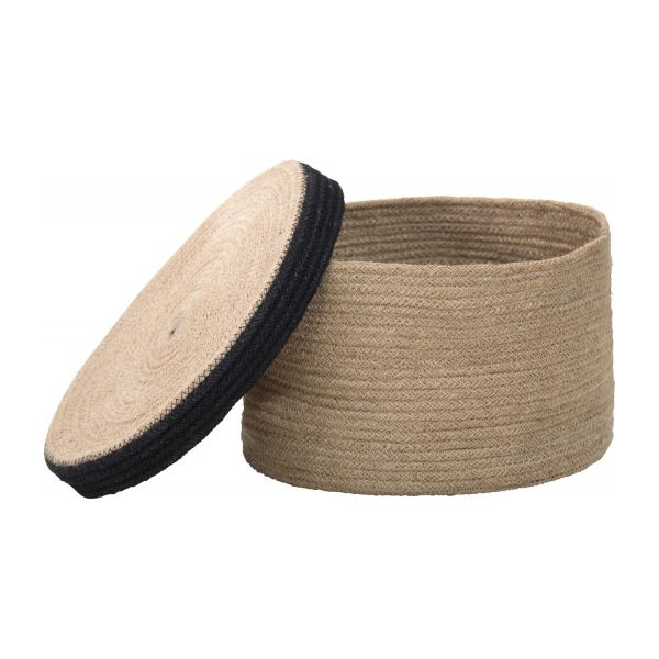 Round basket with cover made of jute 27cm n°3