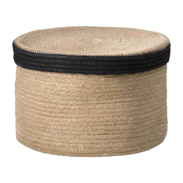 Round basket with cover made of jute 27cm n°1