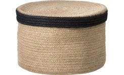 Round basket with cover made of jute 27cm