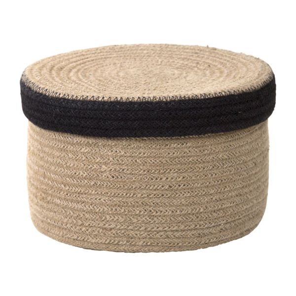 belal panier rond avec couvercle en jute 22cm habitat. Black Bedroom Furniture Sets. Home Design Ideas
