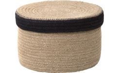 Round basket with cover made of jute 22cm
