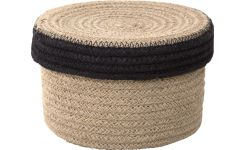 Round basket with cover made of jute 17cm
