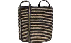 Round striped basket made of jute, with handles 45cm