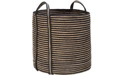 Round striped basket made of jute, with handles 35cm