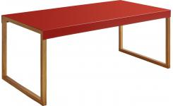 Coffee table in oak and steel, red