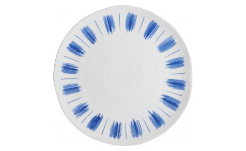Flat plate made of porcelain, white and blue