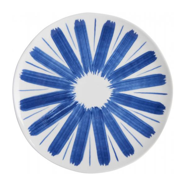 Dessert plate made of porcelain, white and blue n°1