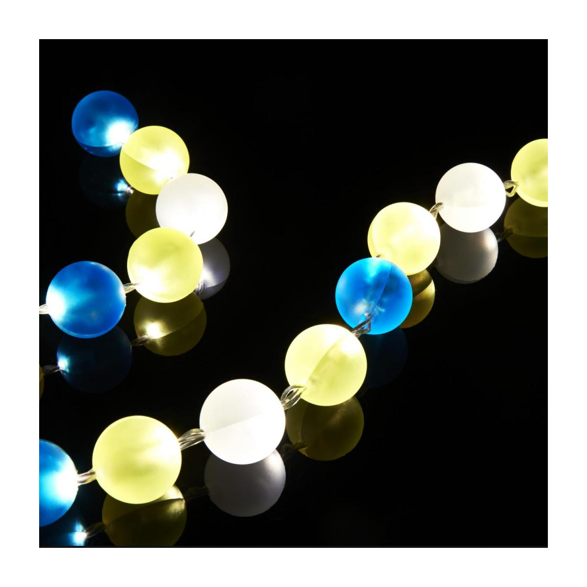 24-light fairy lights with yellow and blue baubles n°2