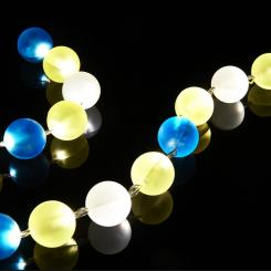 24-light fairy lights with yellow and blue baubles