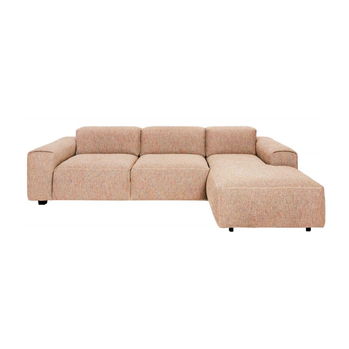 3 seater sofa with right chaise longue in Bellagio fabric, passion orange n°1