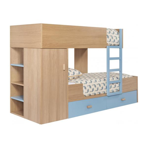 Bunk beds made of oak, natural and grey-blue n°1