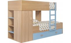 Bunk beds made of oak, natural and grey-blue
