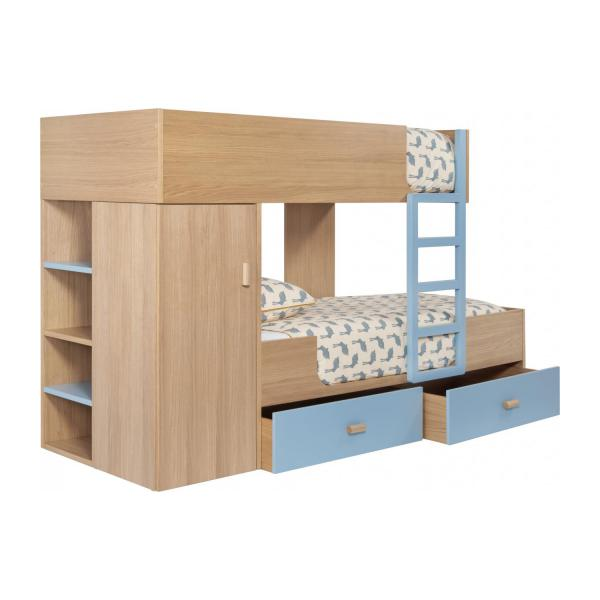 Bunk beds made of oak, natural and grey-blue n°2