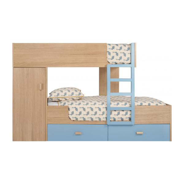 Bunk beds made of oak, natural and grey-blue n°3