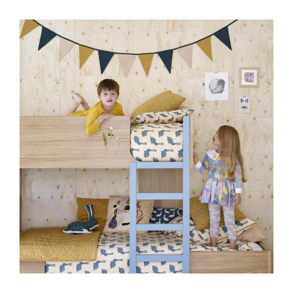 Bunk beds made of oak, natural and grey-blue n°7