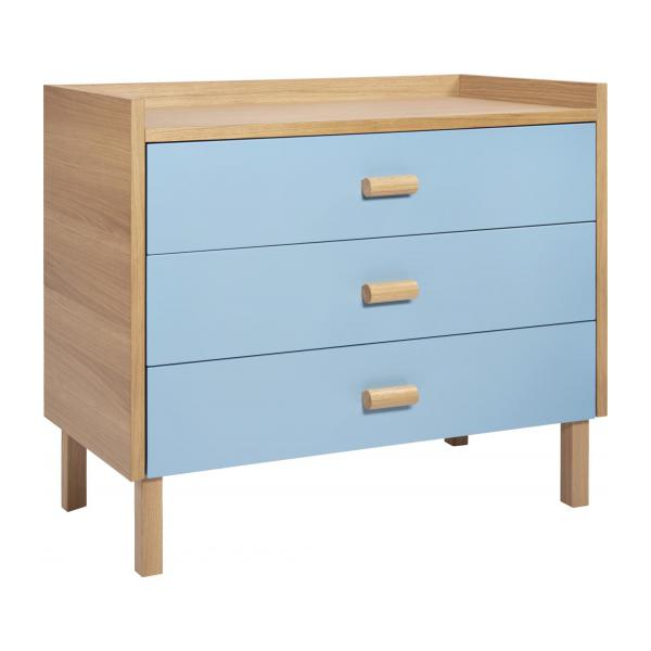 Chest of drawers for children made of oak, natural and grey-blue n°1
