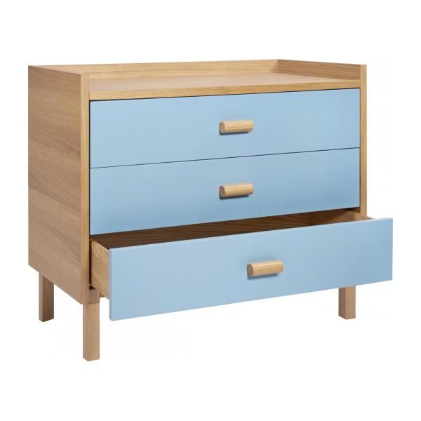 Chest of drawers for children made of oak, natural and grey-blue n°2