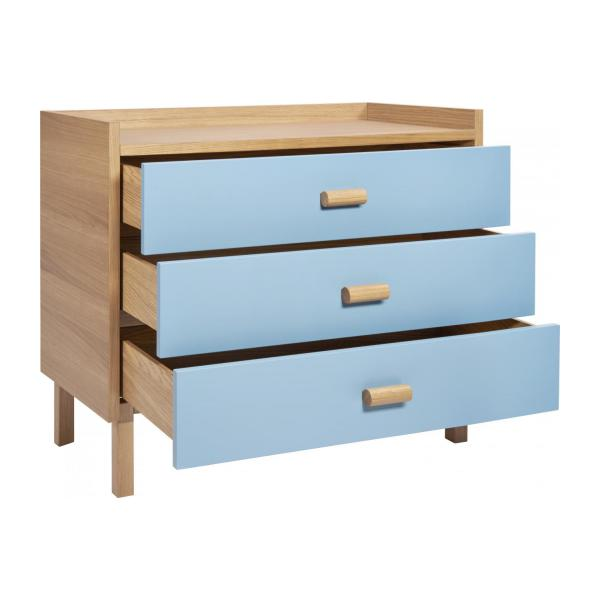 Chest of drawers for children made of oak, natural and grey-blue n°3