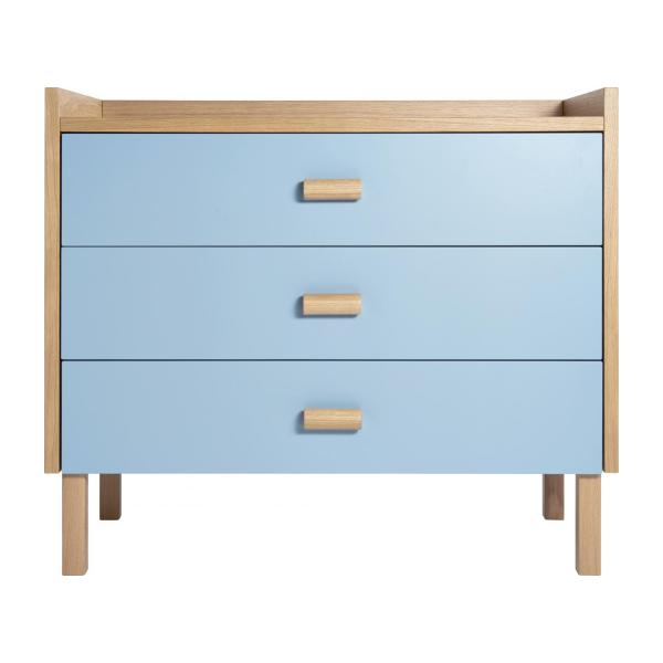 Chest of drawers for children made of oak, natural and grey-blue n°5