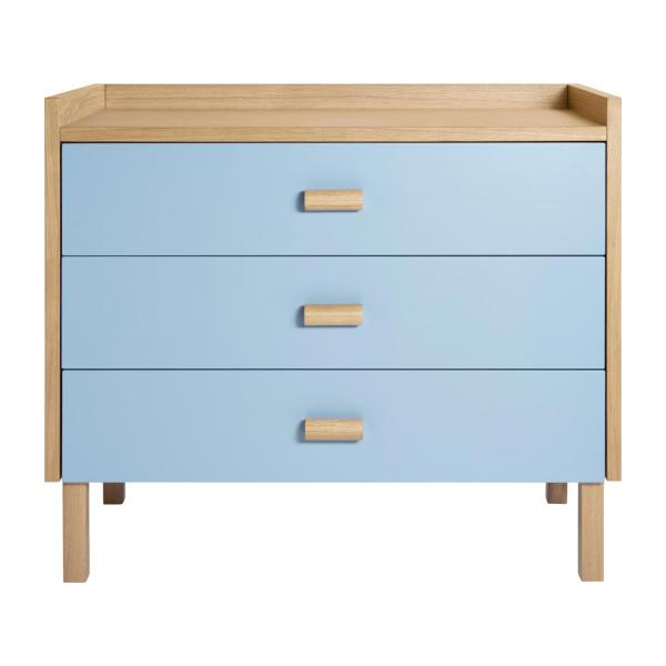 Chest of drawers for children made of oak, natural and grey-blue n°4