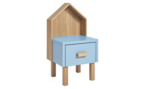 Bedside table for children made of oak, natural and grey-blue