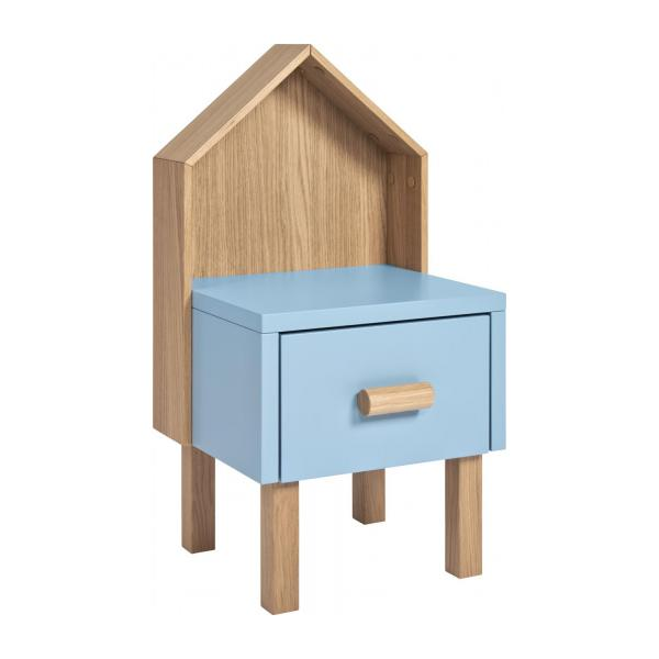 Genial Bedside Table For Children Made Of Oak, Natural And Grey Blue N°1