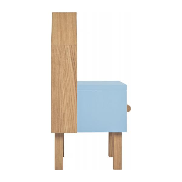 milk table de chevet pour enfant ch ne naturel et gris bleu habitat. Black Bedroom Furniture Sets. Home Design Ideas