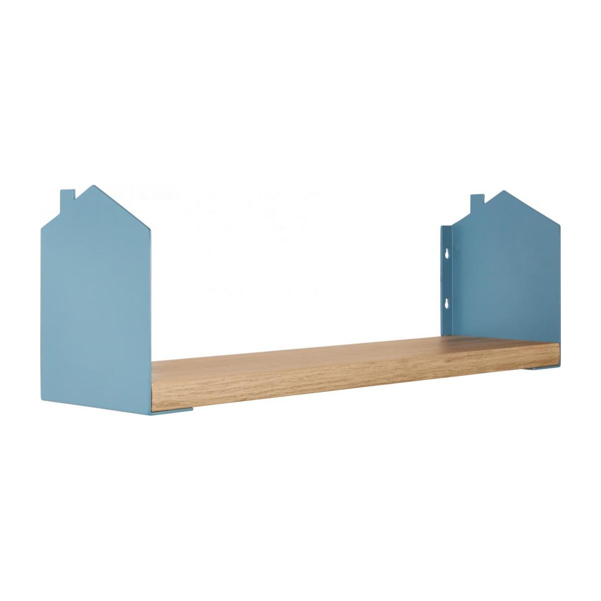 Shelf made of wood and metal, natural and grey-blue n°1