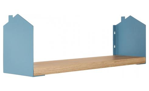 Shelf made of wood and metal, natural and grey-blue