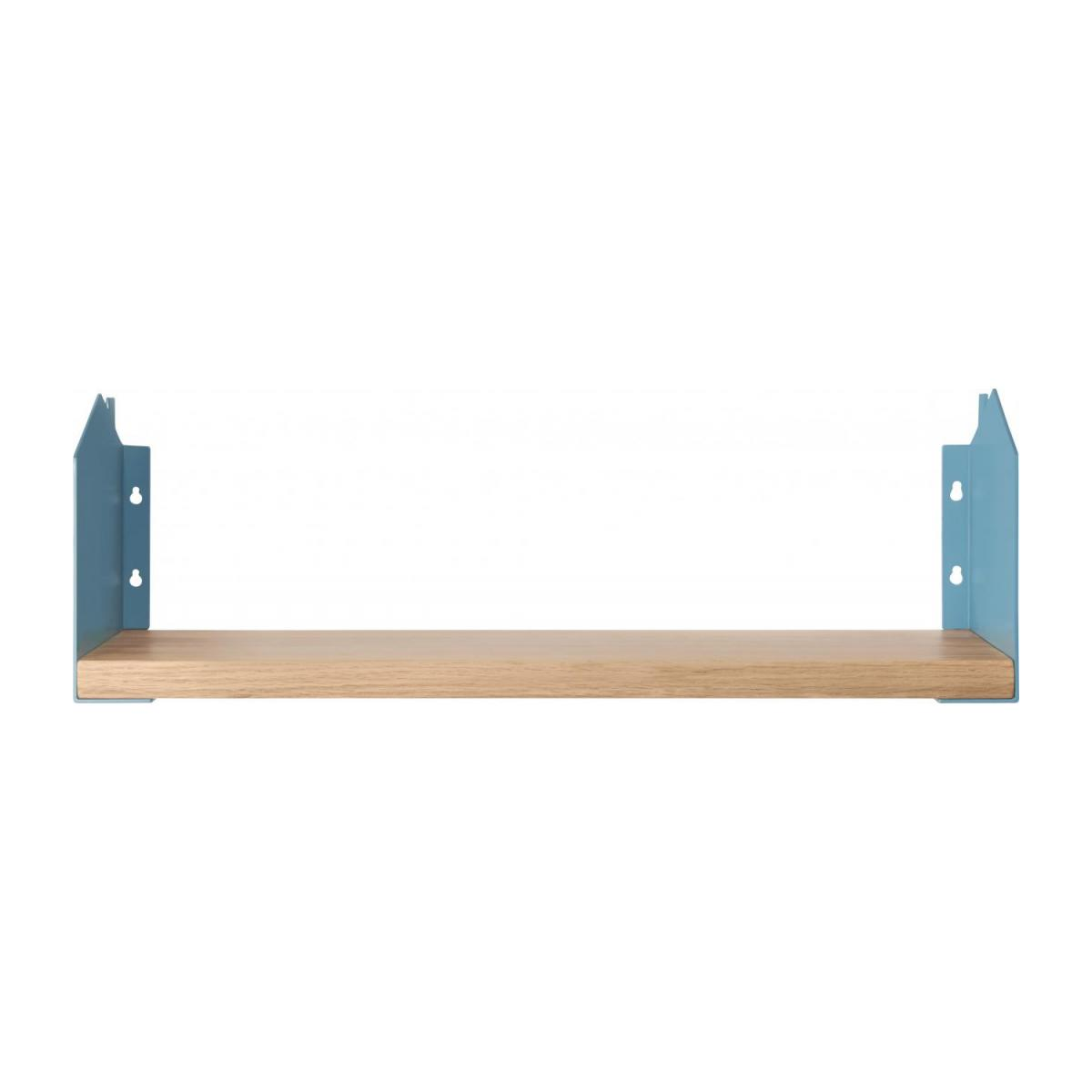 Shelf made of wood and metal, natural and grey-blue n°2