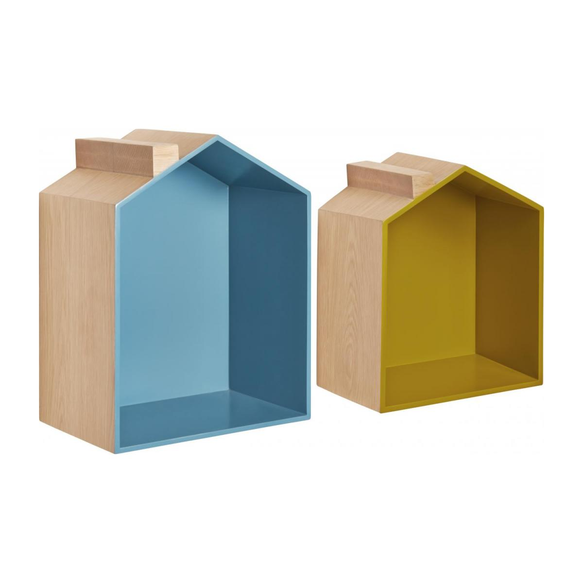 Set of 2 shelves made of oak, natural, grey-blue and yellow n°1