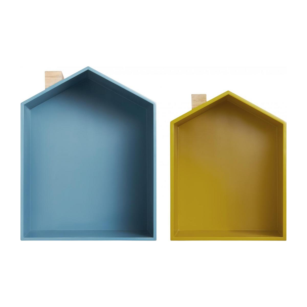 Set of 2 shelves made of oak, natural, grey-blue and yellow n°4