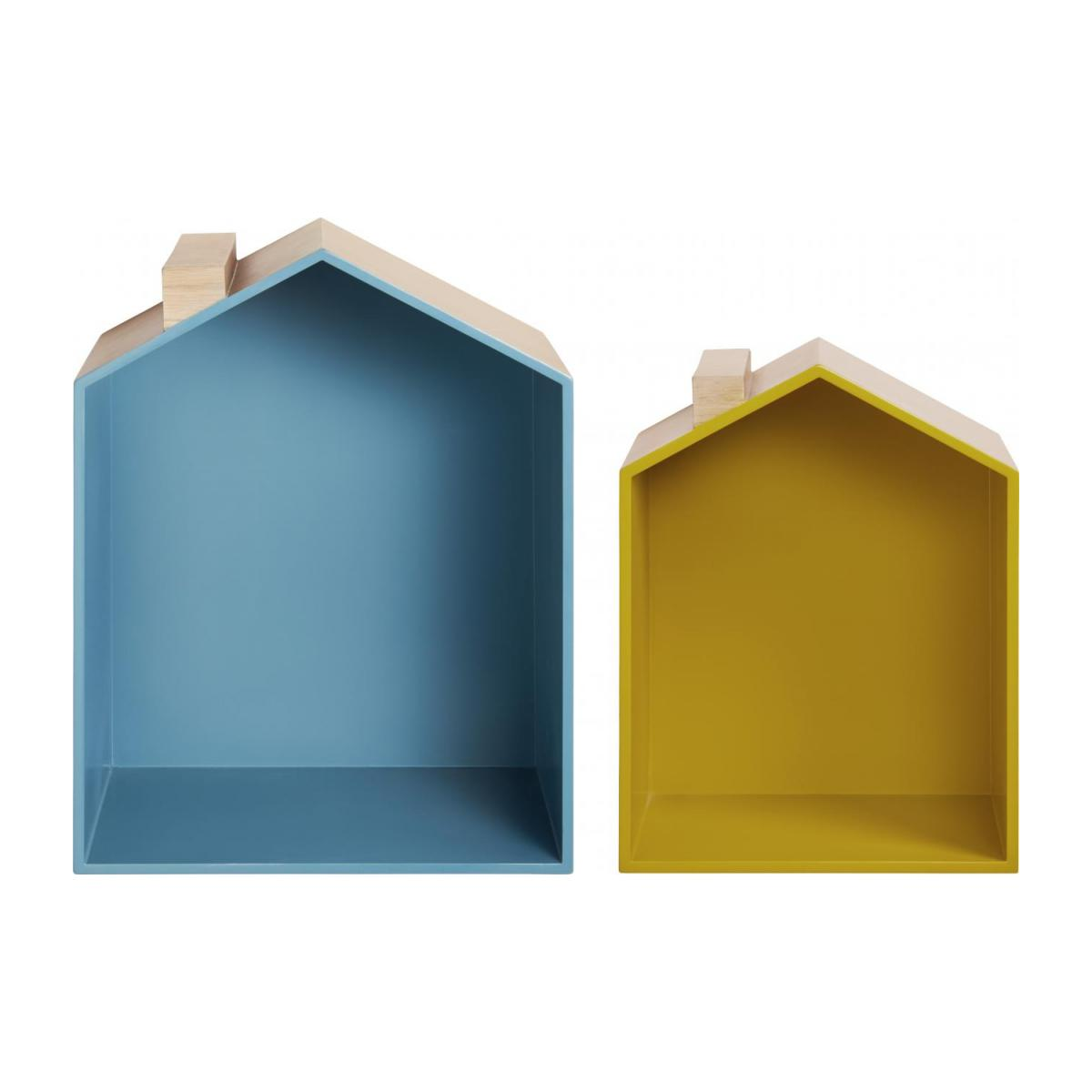 Set of 2 shelves made of oak, natural, grey-blue and yellow n°3